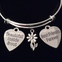 Beautiful Best Friend Silver Expandable Charm Bracelet Adjustable Bangle Trendy Gift BFF
