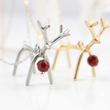 reindeer necklace christmas jewelry rudolph necklace