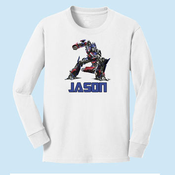 Personalized Transformer's Optimus Prime Personalized Long Sleeve T shirt