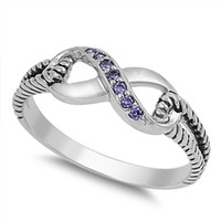 Sterling Silver Purple Amethyst CZ Infinity Ring with Cable Band Size 4-10