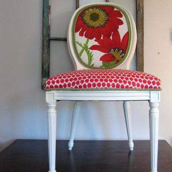 Red Blooming Beauty Round Back French Bergere Side Chair