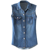 Denim Shirt Collar Frayed Vest