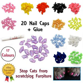 Lovely 20pcs Silicone Soft Cat Nail Caps Cat Nail Covers Pet Claw Paws Caps Adhesive Glue Animal Protection