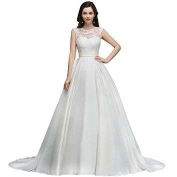 Wedding Dress White Ivory Backless Lace A-Line Court Train Satin Wedding Dresses