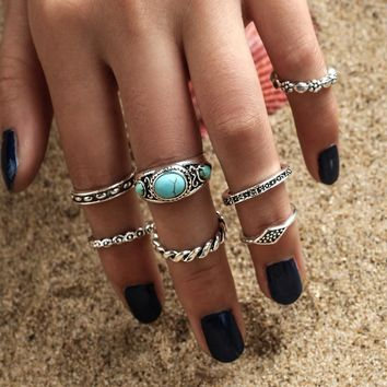 Turquoise Ring 7-pcs Pack Set [11790887567]