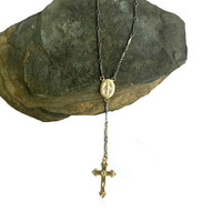 Mixed Metal Silver and Gold Rosary Y Necklace, Silver Gold Cross Necklace, Rosary Necklace, Oxidized Silver, Rocker Chic Edgy, 14K GOLD fill