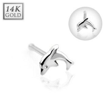 Nose Ring Dolphin Nose Stud Ring 14 Karat Solid White Gold 20g