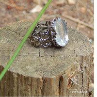 Custom Antique Gunmetal Glass Ring