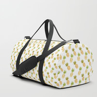 Tropical Watercolour Pineapples Duffle Bag by Tanyadraws