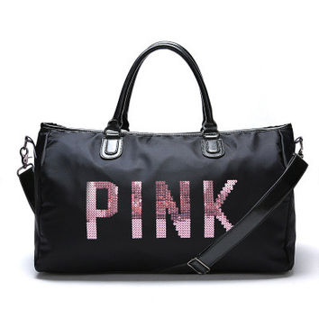 """ Pink "" Printed High Quality Durable Victoria's Secret Like Sport Exercise Carry on Yoga Gym Travel Luggage Bag  _ 10039"