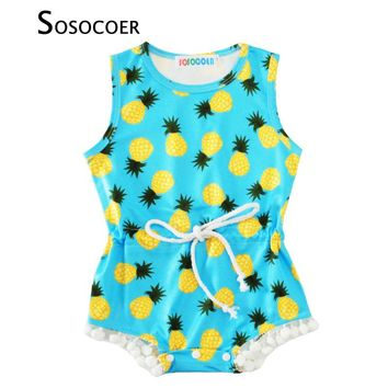 SOSOCOER Baby Girl Romper With Tassel 2017 Summer Cute Pineapple Printed Sleeveless Newborn Jumpsuit Rompers Kids Girls Clothes