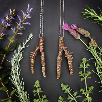 Bronze Root Necklace - Handmade in Austin, Tx - Plant Jewelry - Rhizome Collection - made by Jamie Spinello