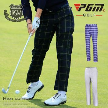 PGM Golf Sportswear Men British Style Plaid Pants Summer Breathable Quick Dry Men's Golf Sports Pants Plus Size Golf Trousers