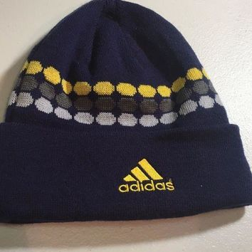 ESBONC. BRAND NEW ADIDAS NAVY WITH YELLOW DOTS KNIT HAT SHIPPING
