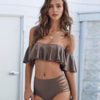 Women's Solid Color Off Shoulder Beach  Swimwear Bikini Set