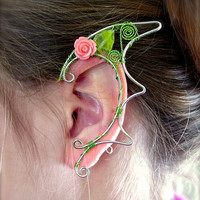 Dragon Inspired Pair of Floral Silver Elf Ear Cuffs, Ear Wraps, Renaissance, Elven, Hobbit, Elf, Fantasy Ear Wraps,