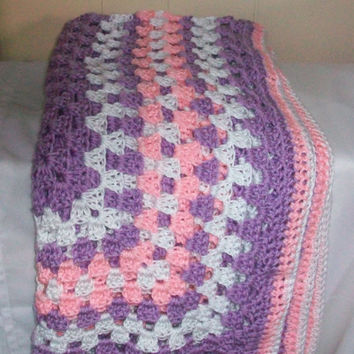 Purple Handmade Crochet Afghan/Throw/Blanket with White and Pink Border, Soft Baby Yarn, Granny Stitch
