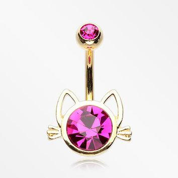 Golden Adorable Cat Face Sparkle Belly Button Ring