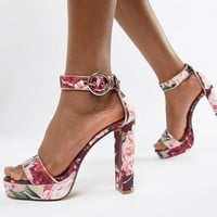 Ted Baker Floral Printed Platform Heeled Sandals at asos.com