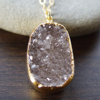 Mocha druzy gold necklace OOAK by friedasophie on Etsy