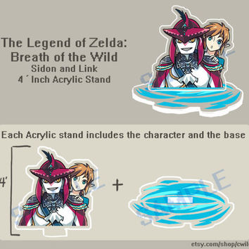 The Legend of Zelda : Breath of The Wild , Sidon and Link 4' inch Acrylic Stand