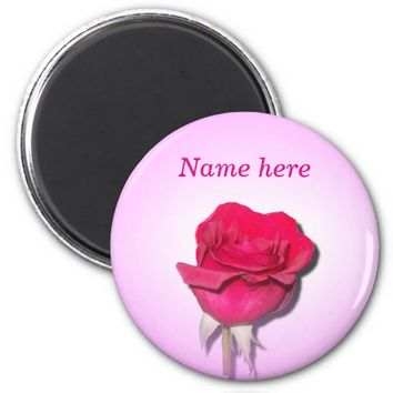 Red Rose w/Light Pink and White Magnet