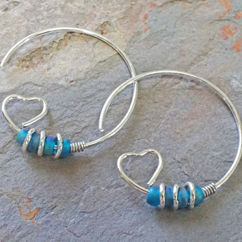 Heart Hoop Earrings Iridescent Blue