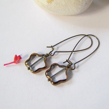 Clear Glass Long Earrings Flower electroplate by SandstarJewelry