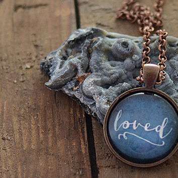 Loved Necklace, One Word Jewelry, Typographic Necklace, Dark Blue Pendant, Your Choice of Finish (1902)