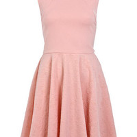 Flocked Panel Skater Dress - Dresses  - Apparel