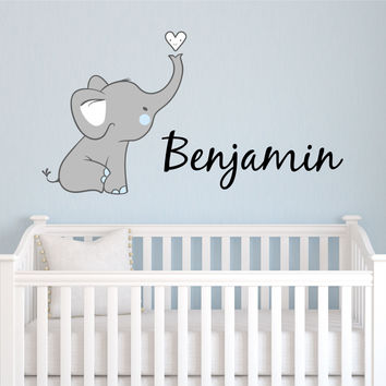 Elephant Name Wall Decal- by Decor Designs Decals, Boys Name Decals, Elephant Nursery Decals, Kids Room Decals, Playroom Decals, Nursery Decor, Animal Decals, K4