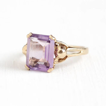 Vintage 10k Yellow Gold Rose De France Amethyst Ring - Retro 1950s Size 5 1/2 Emerald Cut Light Purple Genuine Gem Fine Harber Co Jewelry