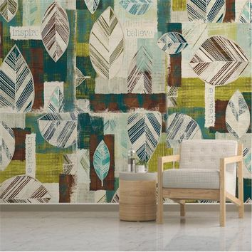 beibehang Custom 3d wall paper murals living room bedroom modern minimalistic abstract geometric leaves wallpaper home decor