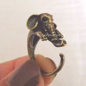 Elephant ring - Gold and Silver; adjustable size; minimalist knuckle rings, midi rings, mini rings, animal ring, cute ring, vintage ring