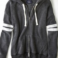 AEO 's Varsity Striped Full Zip Hoodie (True Black)