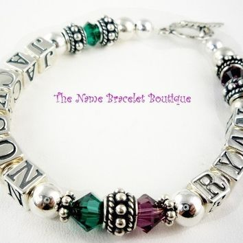 Mothers Day Bracelet Sterling Silver Two 2 Child name Swarovski Crystal Mother's Mother Grandma Personalized ID Mom, add up to 4 strands