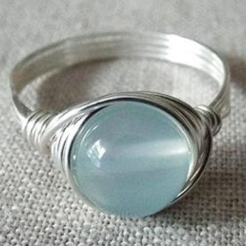 Blue Chalcedony Ring - Blue Stone Ring - Light Blue Ring - Wire Wrapped Jewelry Handmade - Gift for Best Friend - Unique Rings - Simple Ring