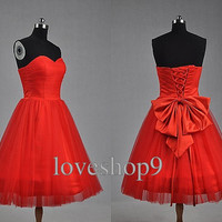 Red Sweetheart Neckline Knee-Length A-line Bowknot Ruched Tulle Lace-up Satin Plus Size Evening Bridesmaid  Prom Homecoming Wedding Dresses