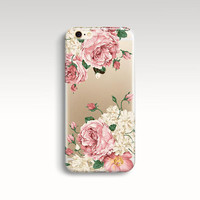 iPhone 6 Case, Clear iPhone 6 Case, Floral iPhone 6 Case, Soft Rubber iPhone 5s Case, Flowers iPhone 6 Case Cute iPhone 5 Christmas Gift