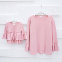 Family Matching Clothes 2016 Korea Mommy and me Ruffled T-shirt Long Sleeve Loose Dress t Shirt Matching Mother Daughter Clothes