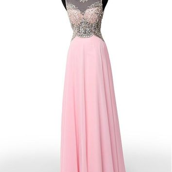 [119.99] Charming Tulle & Chiffon Scoop Neckline A-Line Prom Dresses With Beads & Embroidery - dressilyme.com