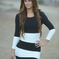 Melissa Dress - Black/White