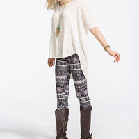 Full Tilt Ethnic Print Womens Leggings Pink Combo  In Sizes