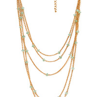 FOREVER 21 Delicate Layered Bead Necklace Mint/Gold One