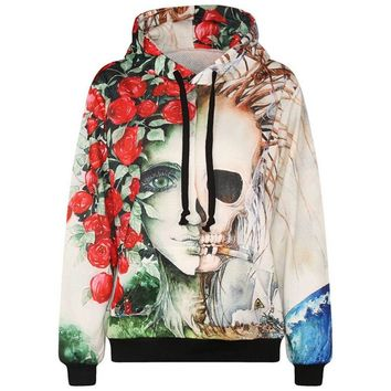 Europe America fashion brand hoodies for men/women 3d sweatshirts flower print rose smoking skulls hooded hoody tracksuits