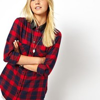 ASOS Shirt in Brushed Check with PU Collar - Check