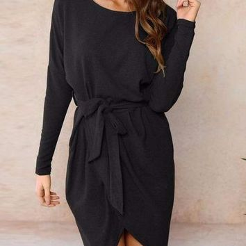Women's Long Sleeve Black Front Tie Dress with Slit