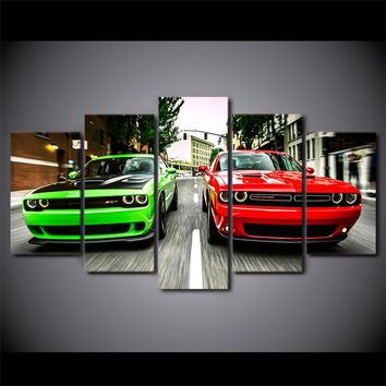 Wall Art SubLime Green Red Dodge Challenger SRT RT Canvas Panel Picture Print
