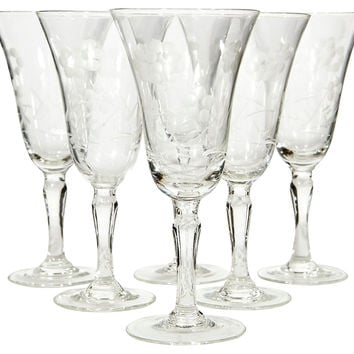1920s Etched Glass Cordial Stems, S/6