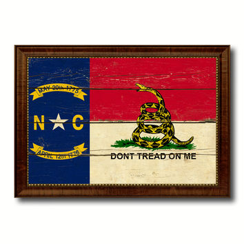 Gadsden Don't Tread On Me North Carolina State Military Flag Vintage Canvas Print with Brown Picture Frame Gifts Ideas Home Decor Wall Art Decoration